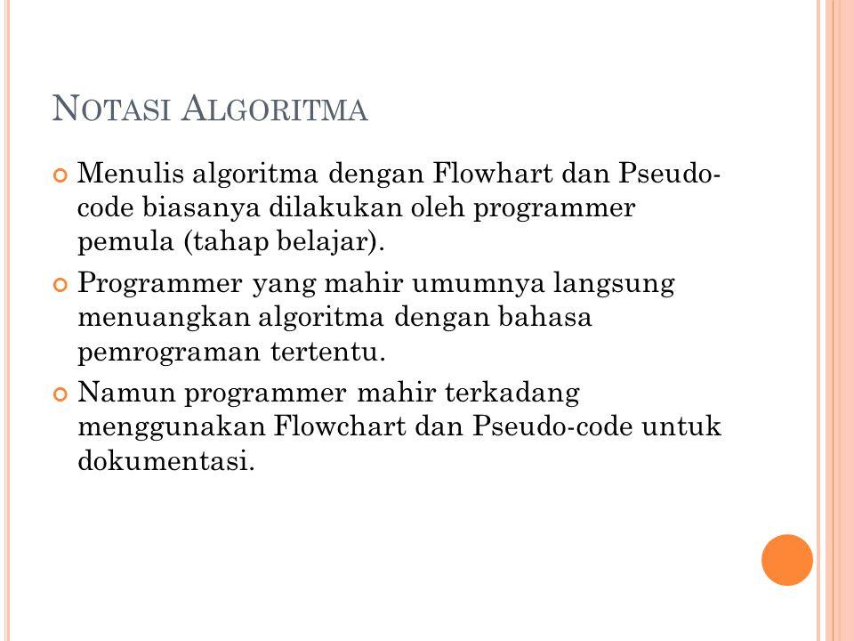 Notasi Algoritma Menulis algoritma dengan Flowhart dan Pseudo- code biasanya dilakukan oleh programmer pemula (tahap belajar).