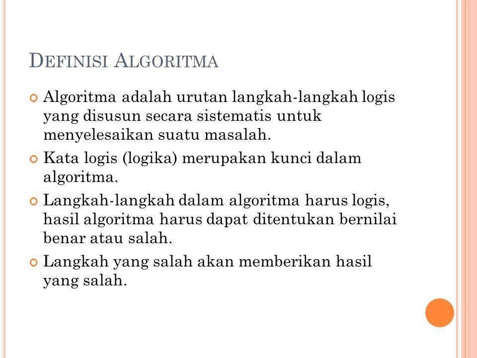Definisi Algoritma Algoritma adalah urutan langkah-langkah logis yang disusun secara sistematis untuk menyelesaikan suatu masalah.