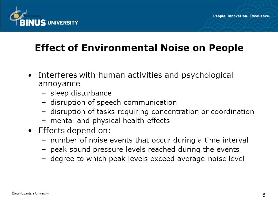 Effect of Environmental Noise on People