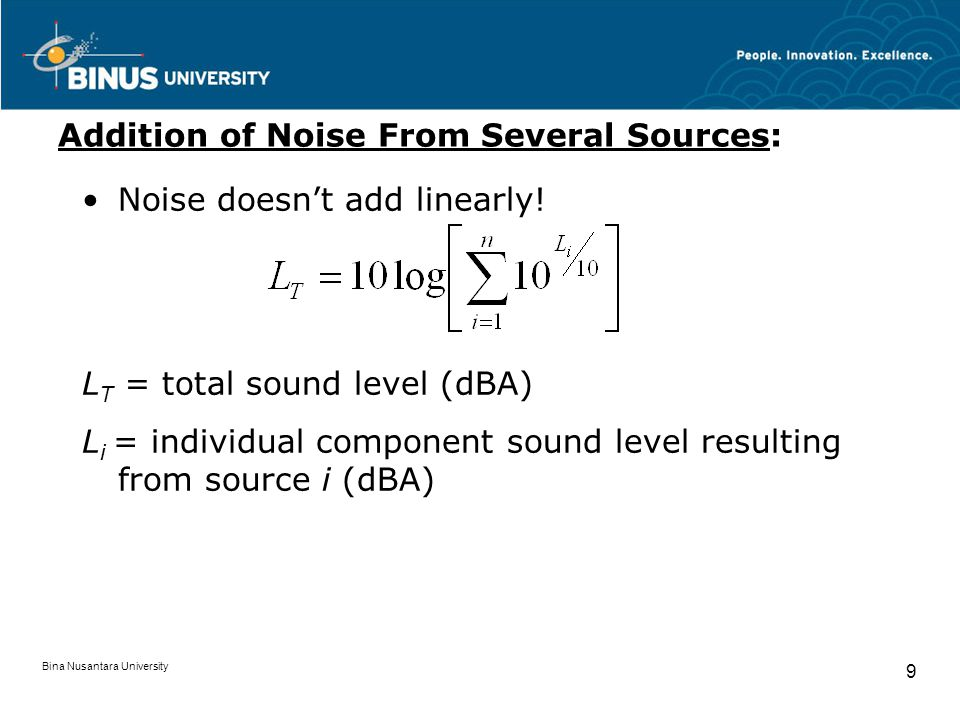 Addition of Noise From Several Sources: