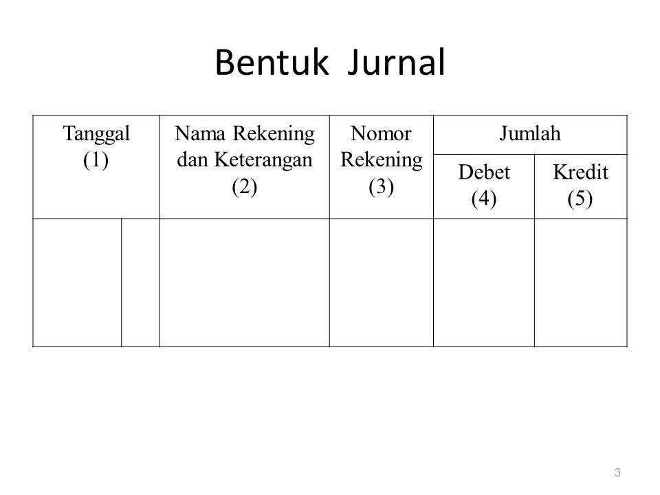 Bentuk Jurnal Tanggal (1) Nama Rekening dan Keterangan (2) Nomor