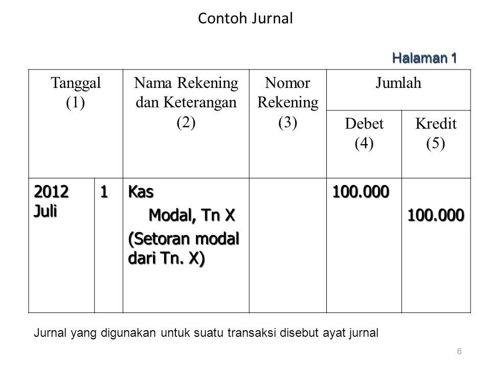 Contoh Jurnal Tanggal (1) Nama Rekening dan Keterangan (2) Nomor