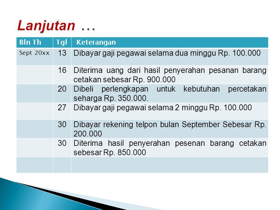 Lanjutan … 13 Dibayar gaji pegawai selama dua minggu Rp. 100.000 16