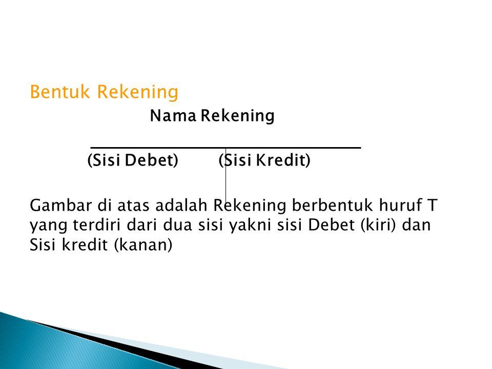 Bentuk Rekening Nama Rekening (Sisi Debet) (Sisi Kredit)