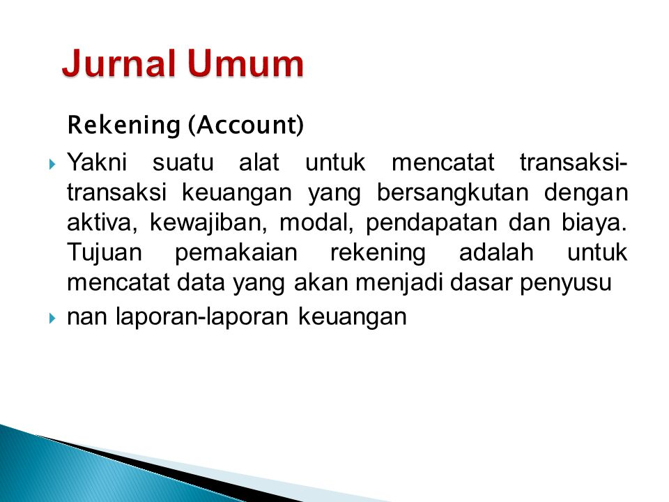 Jurnal Umum Rekening (Account)