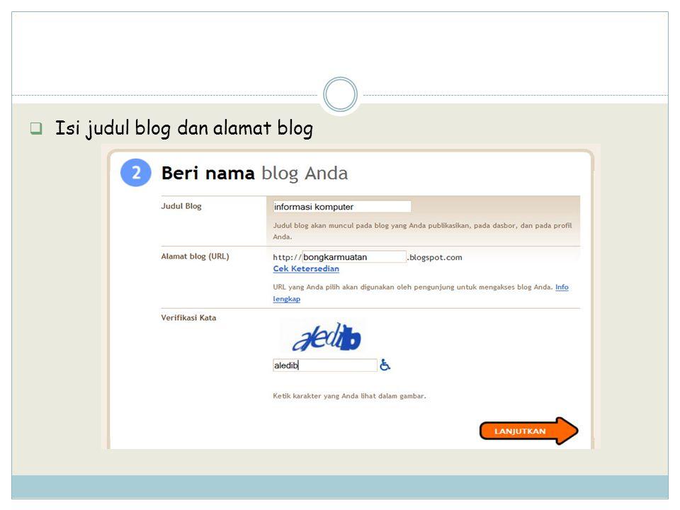 Isi judul blog dan alamat blog