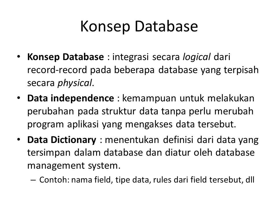 Konsep Database Konsep Database : integrasi secara logical dari record-record pada beberapa database yang terpisah secara physical.