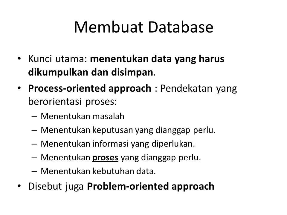 Membuat Database Kunci utama: menentukan data yang harus dikumpulkan dan disimpan. Process-oriented approach : Pendekatan yang berorientasi proses: