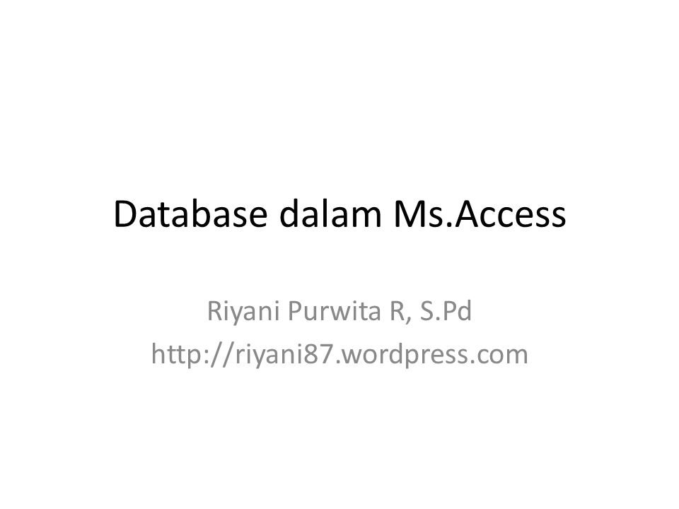 Database dalam Ms.Access