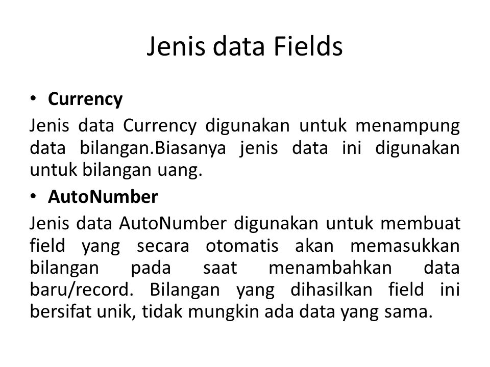 Jenis data Fields Currency