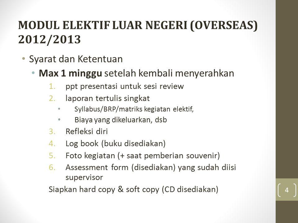 MODUL ELEKTIF LUAR NEGERI (OVERSEAS) 2012/2013