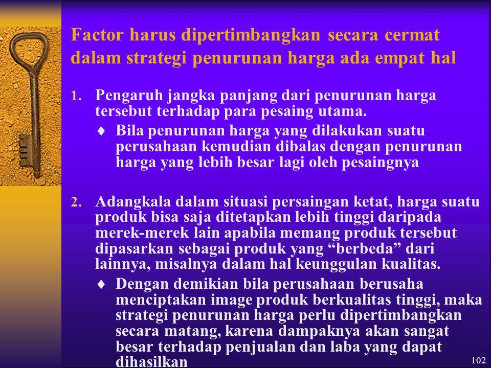 Factor harus dipertimbangkan secara cermat dalam strategi penurunan harga ada empat hal