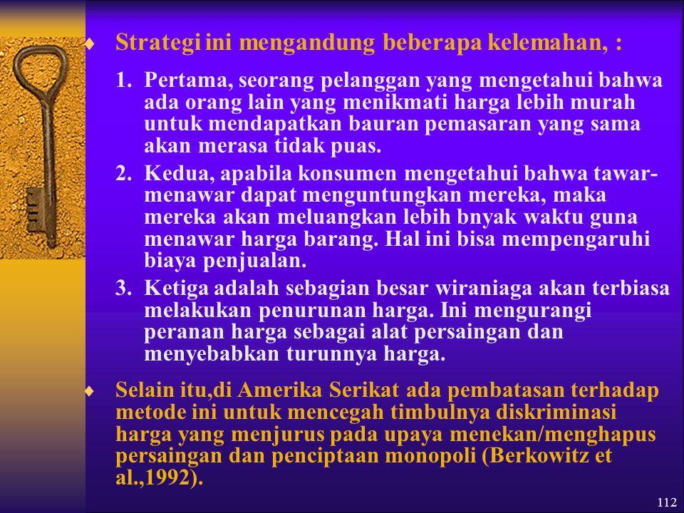 Strategi ini mengandung beberapa kelemahan, :