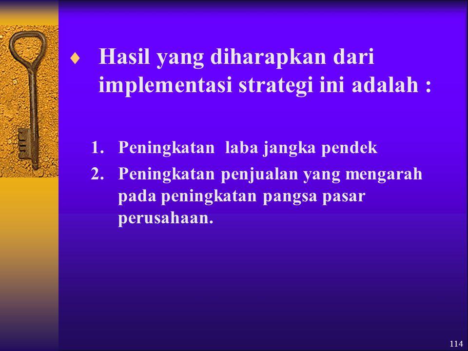 Hasil yang diharapkan dari implementasi strategi ini adalah :