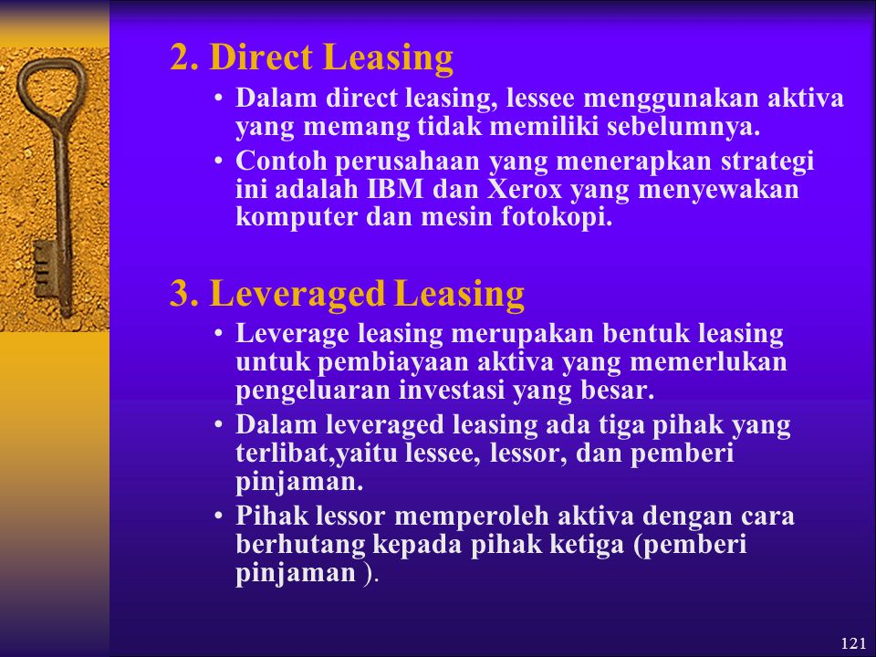 2. Direct Leasing 3. Leveraged Leasing