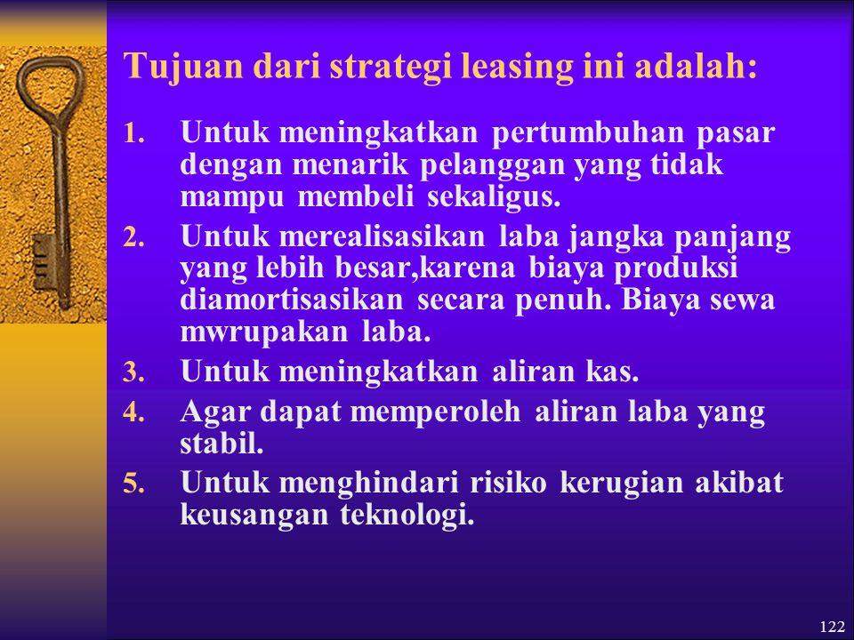 Tujuan dari strategi leasing ini adalah: