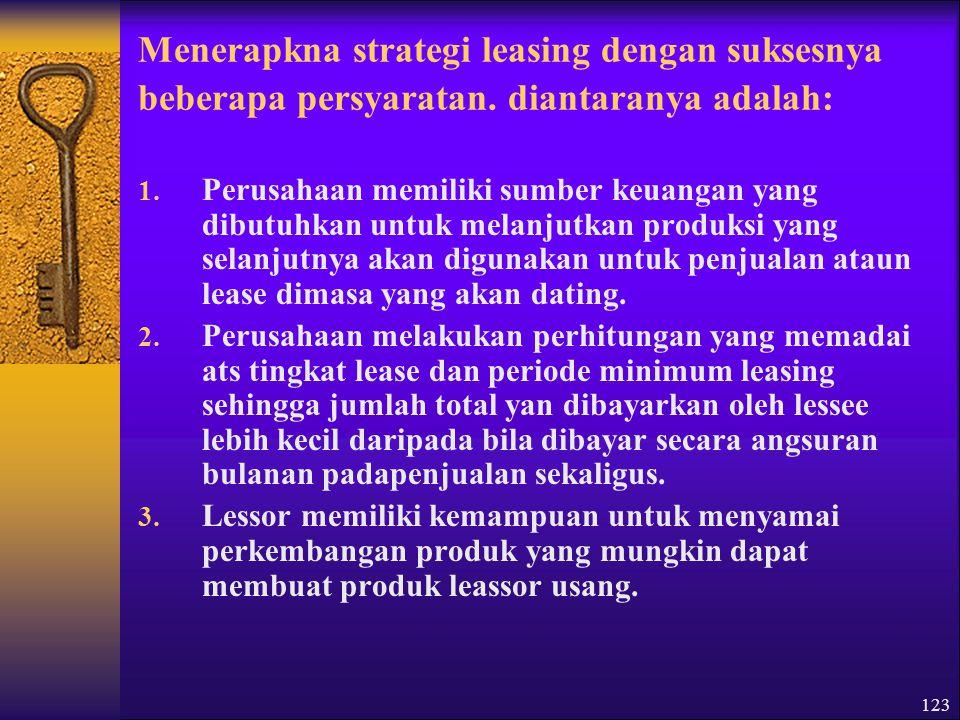 Menerapkna strategi leasing dengan suksesnya beberapa persyaratan