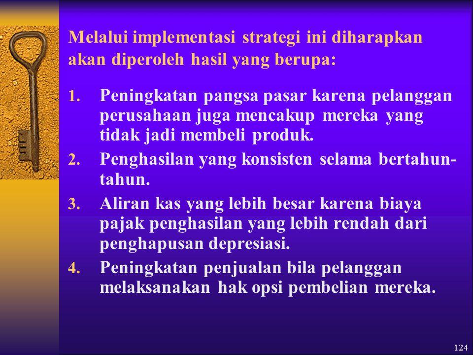 Melalui implementasi strategi ini diharapkan akan diperoleh hasil yang berupa: