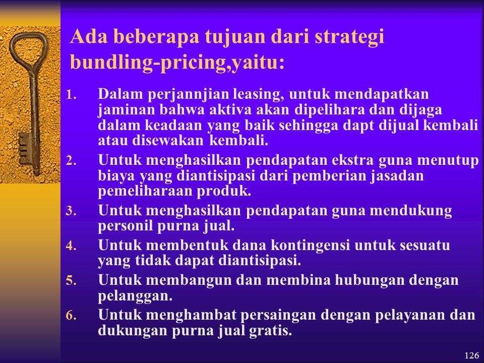 Ada beberapa tujuan dari strategi bundling-pricing,yaitu: