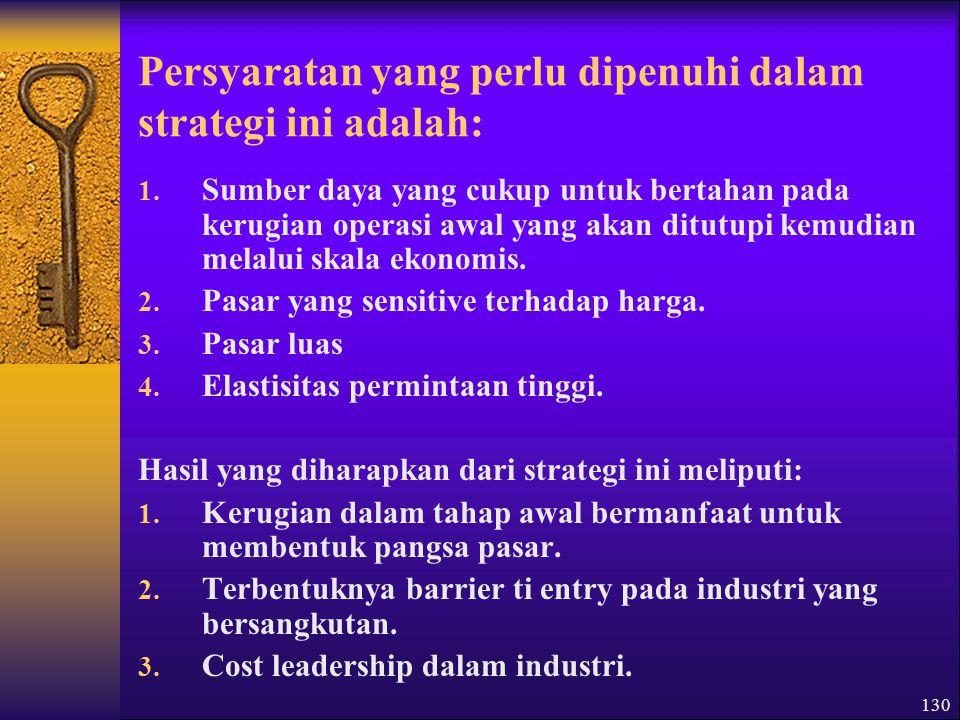 Persyaratan yang perlu dipenuhi dalam strategi ini adalah: