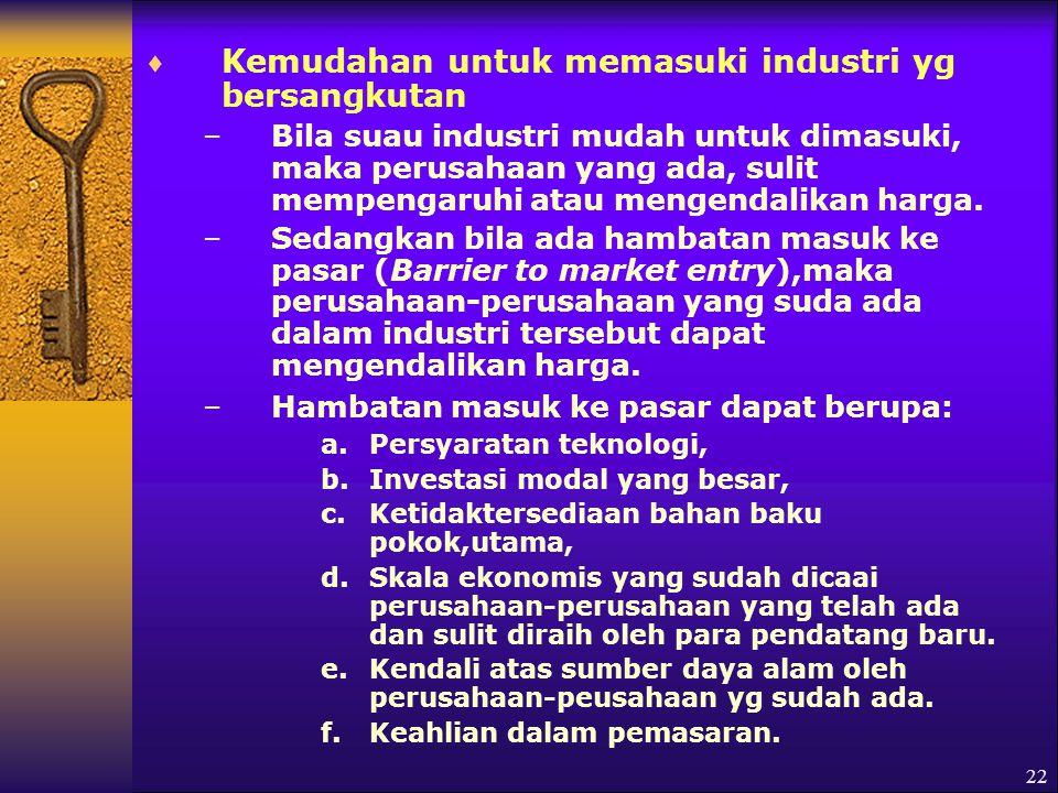 Kemudahan untuk memasuki industri yg bersangkutan