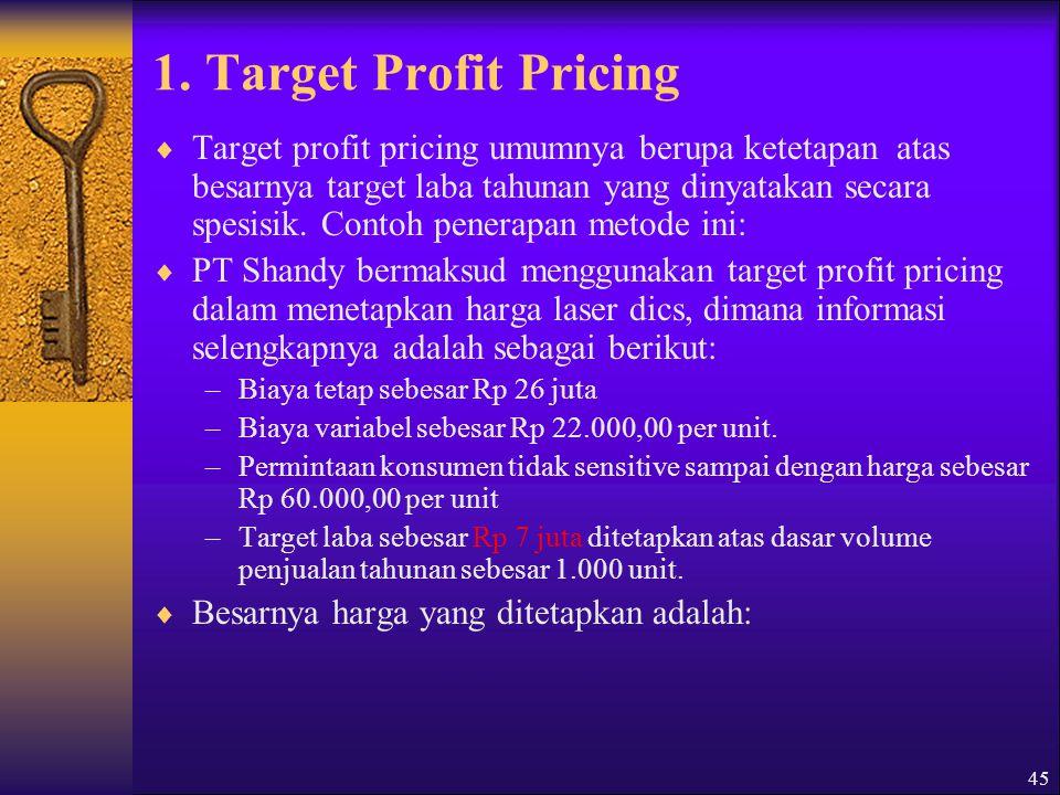 1. Target Profit Pricing
