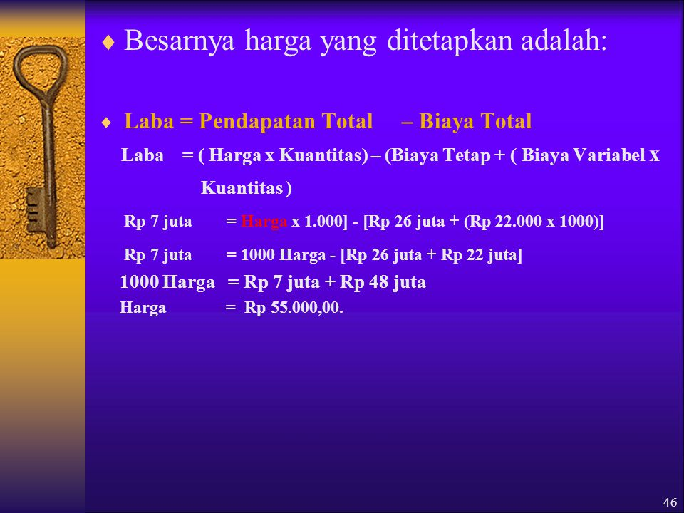 Besarnya harga yang ditetapkan adalah: