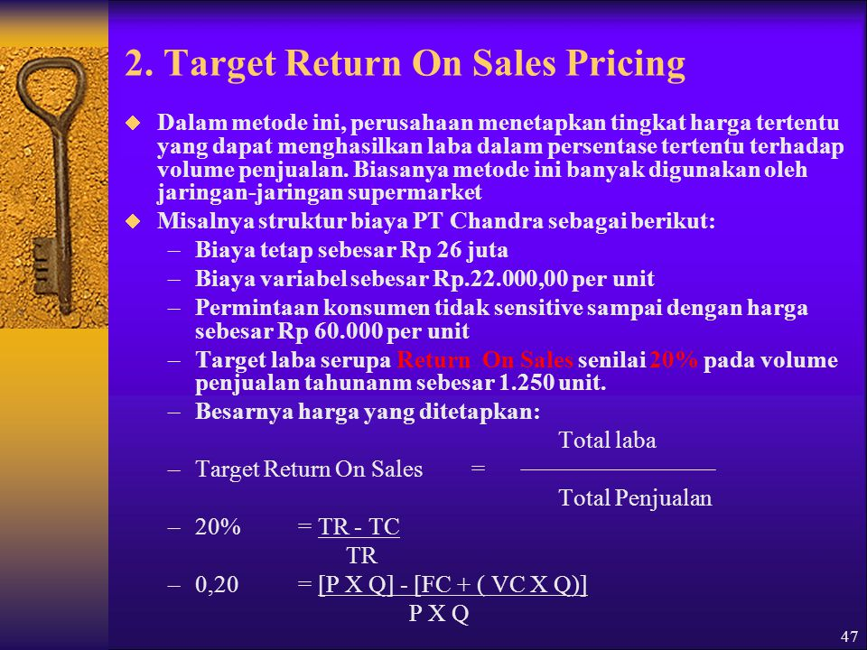 2. Target Return On Sales Pricing