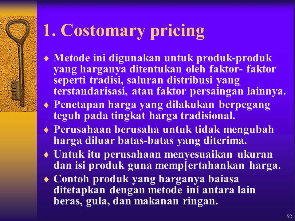 1. Costomary pricing