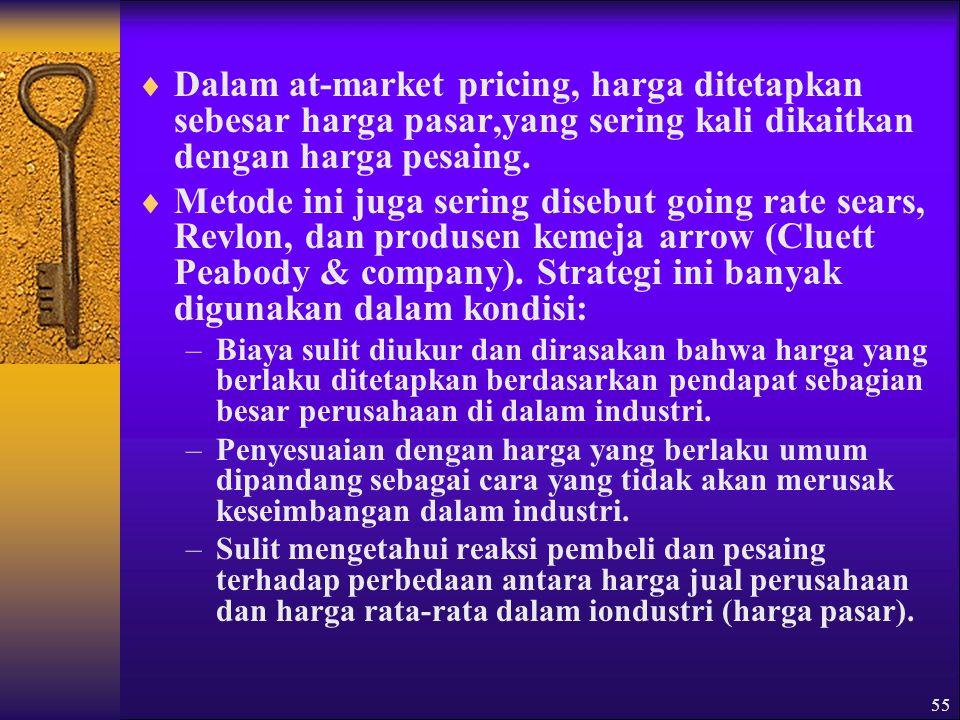 Dalam at-market pricing, harga ditetapkan sebesar harga pasar,yang sering kali dikaitkan dengan harga pesaing.
