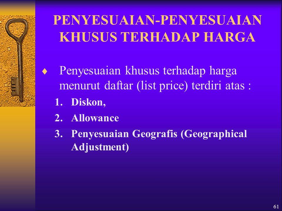 PENYESUAIAN-PENYESUAIAN KHUSUS TERHADAP HARGA