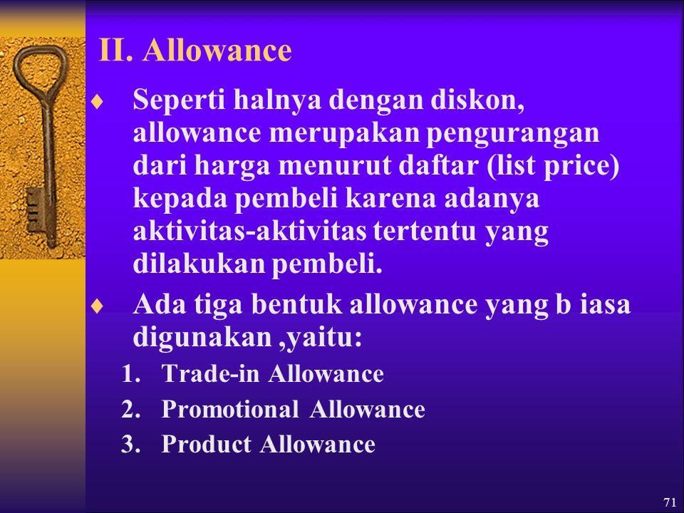 II. Allowance