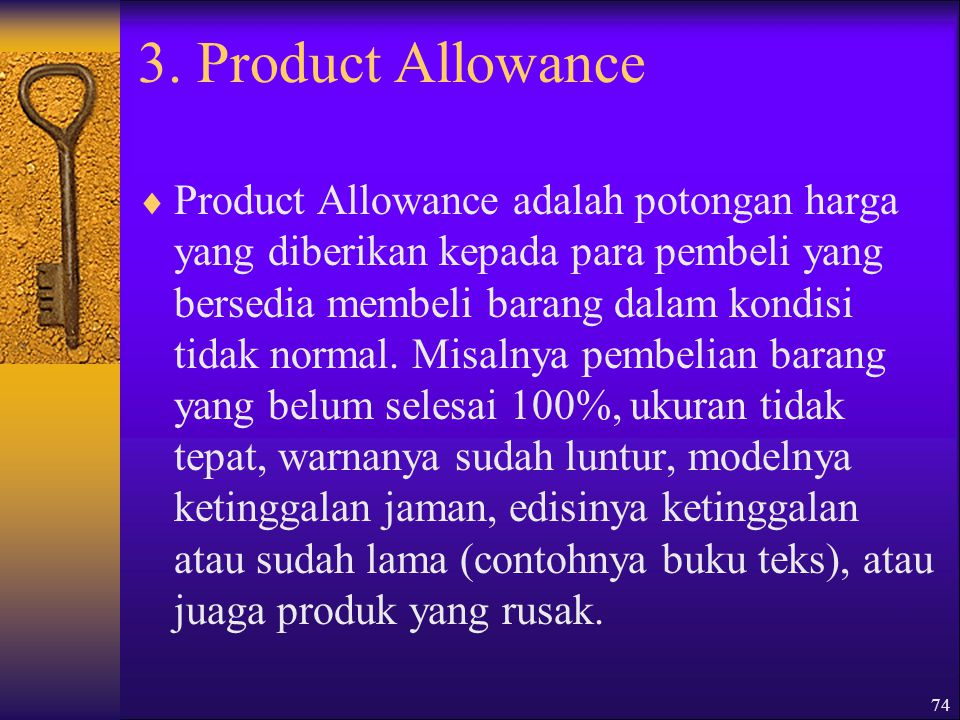 3. Product Allowance