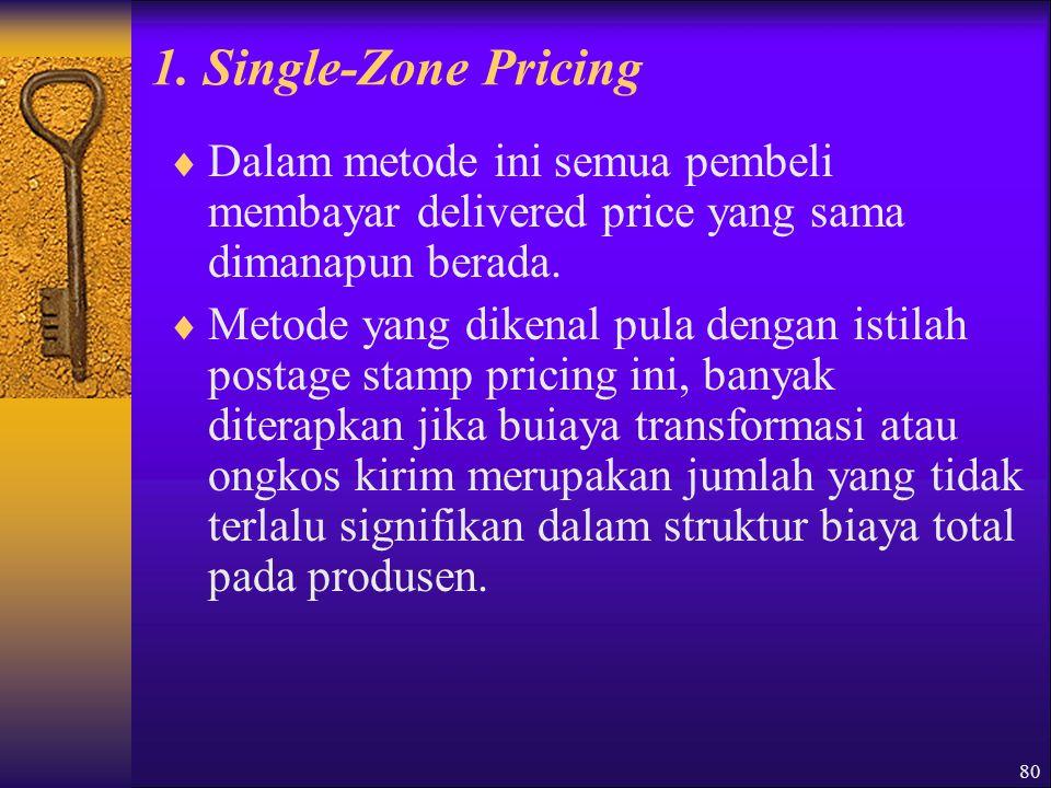 1. Single-Zone Pricing Dalam metode ini semua pembeli membayar delivered price yang sama dimanapun berada.