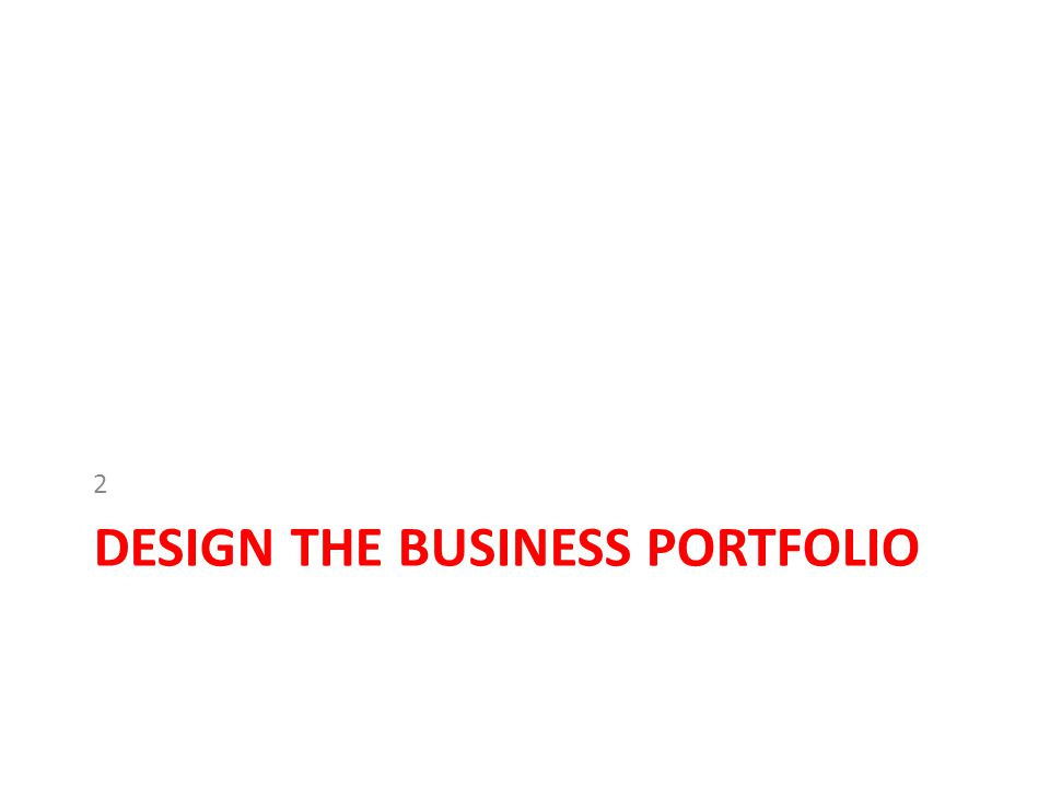 Design the Business Portfolio