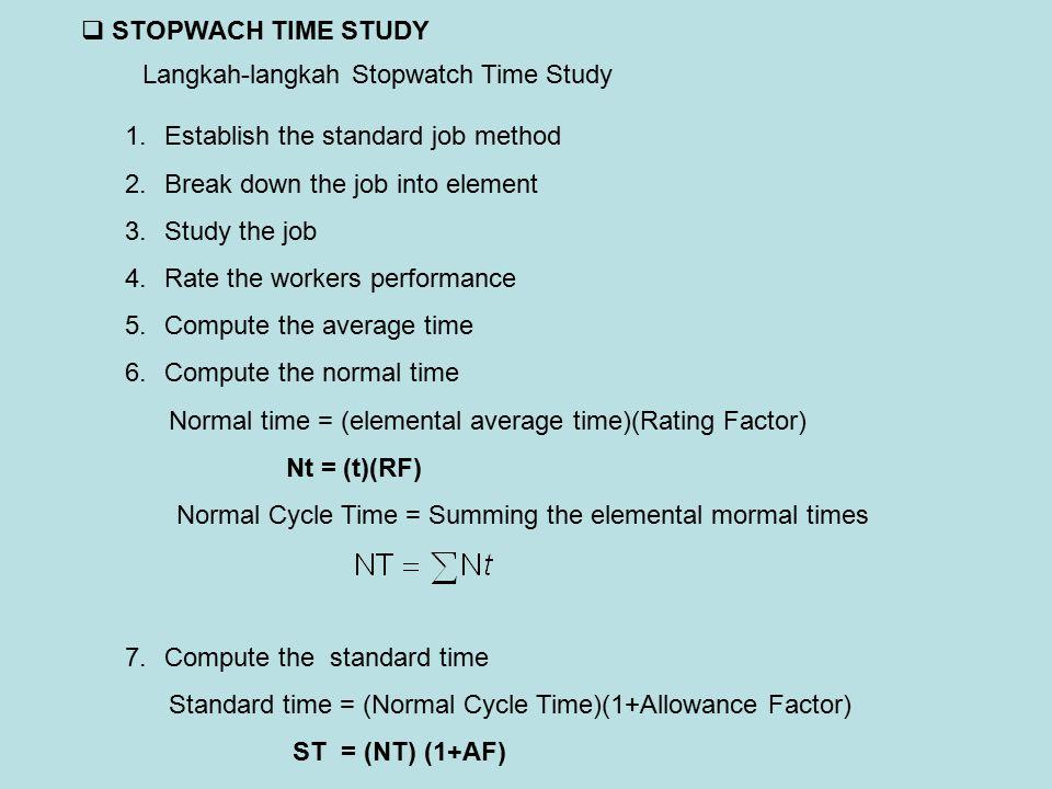Langkah-langkah Stopwatch Time Study