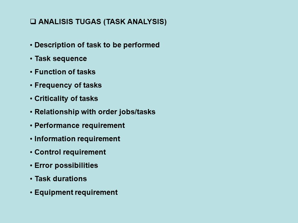 ANALISIS TUGAS (TASK ANALYSIS)