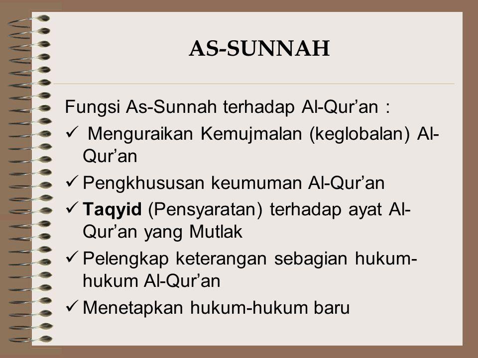 AS-SUNNAH Fungsi As-Sunnah terhadap Al-Qur'an :