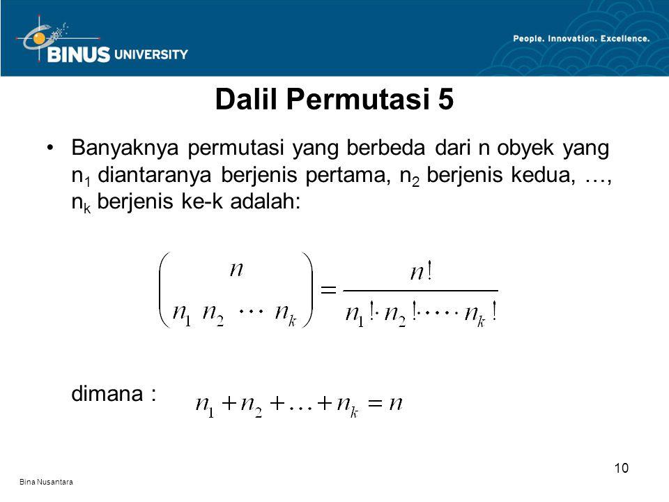 Dalil Permutasi 5 Banyaknya permutasi yang berbeda dari n obyek yang n1 diantaranya berjenis pertama, n2 berjenis kedua, …, nk berjenis ke-k adalah: