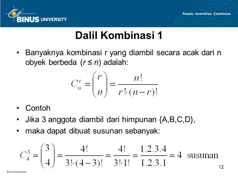 Dalil Kombinasi 1 Banyaknya kombinasi r yang diambil secara acak dari n obyek berbeda (r ≤ n) adalah: