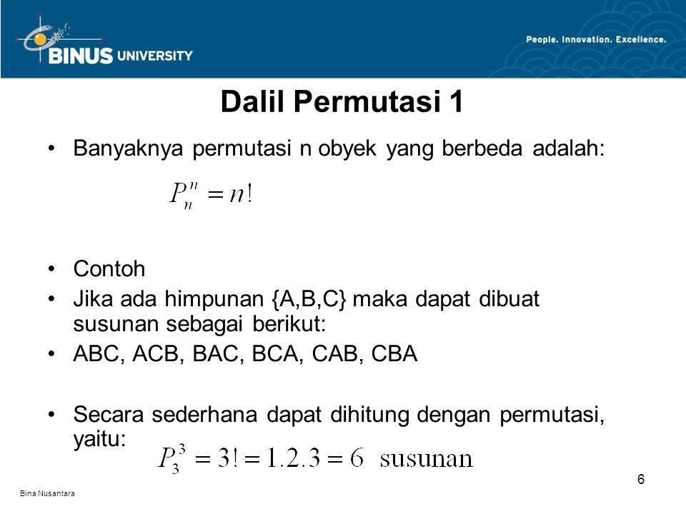 Dalil Permutasi 1 Banyaknya permutasi n obyek yang berbeda adalah:
