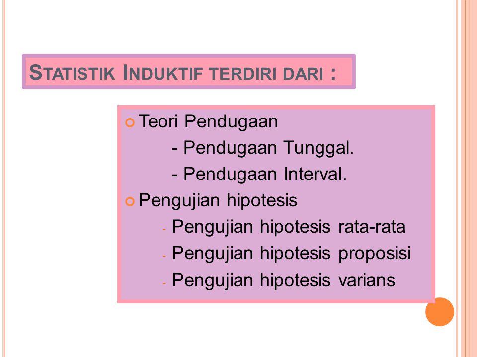 Statistik Induktif terdiri dari :