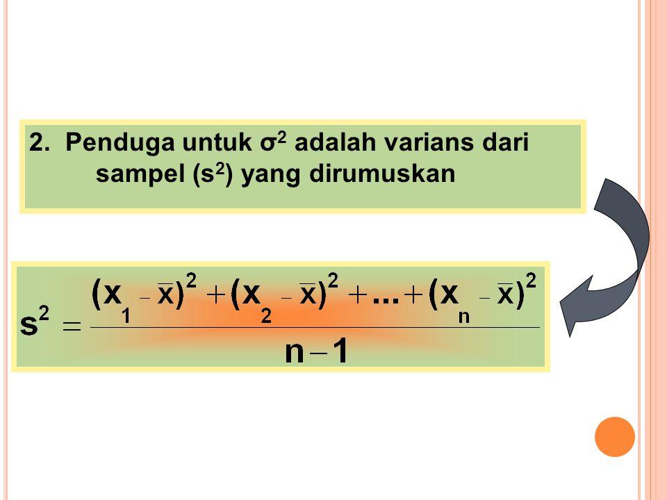 2. Penduga untuk σ2 adalah varians dari sampel (s2) yang dirumuskan
