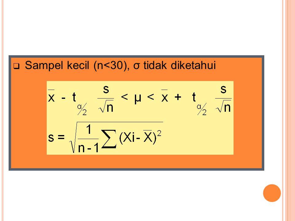 Sampel kecil (n<30), σ tidak diketahui