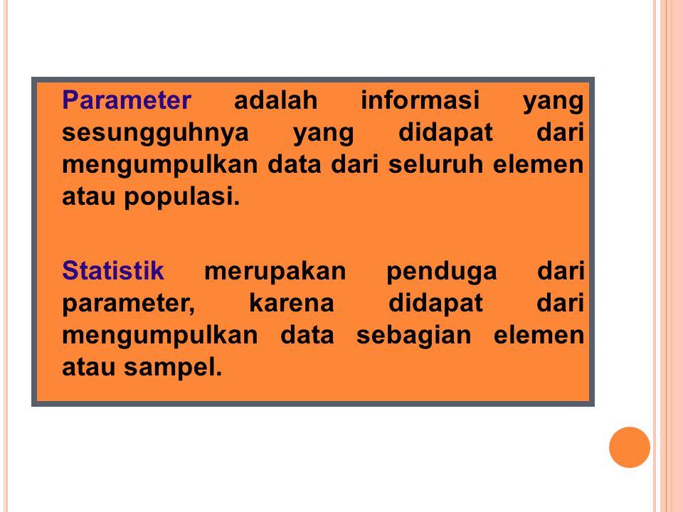 Parameter adalah informasi yang sesungguhnya yang didapat dari mengumpulkan data dari seluruh elemen atau populasi.