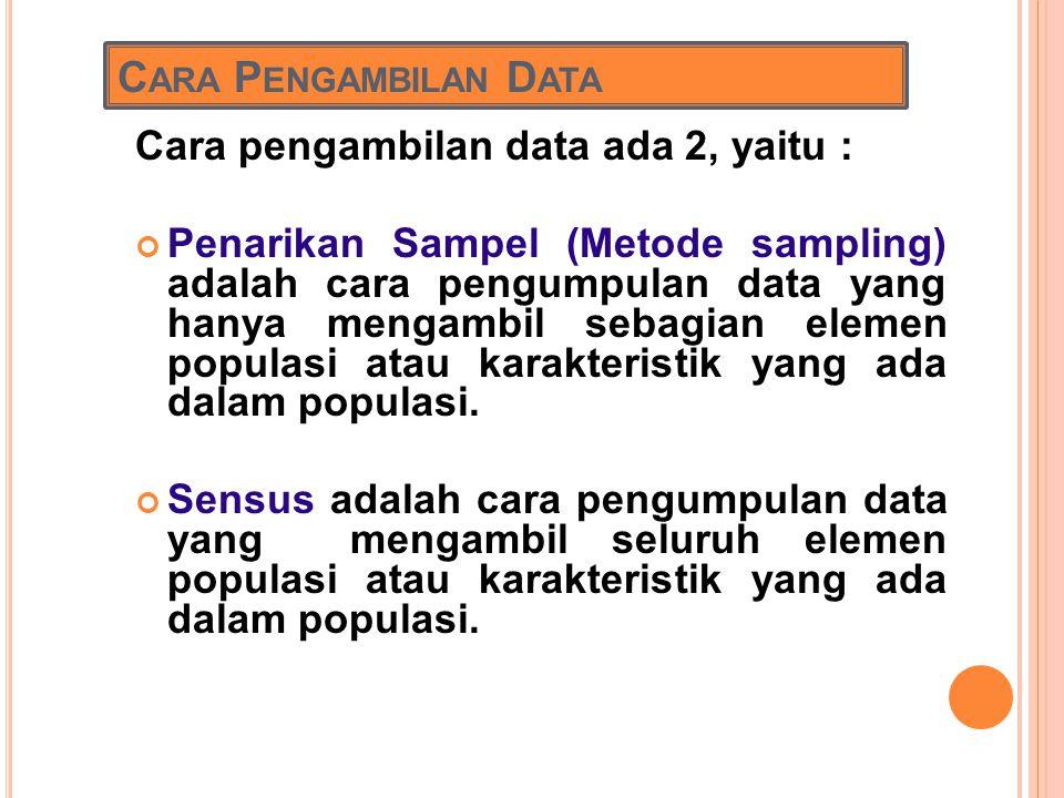 Cara Pengambilan Data Cara pengambilan data ada 2, yaitu :