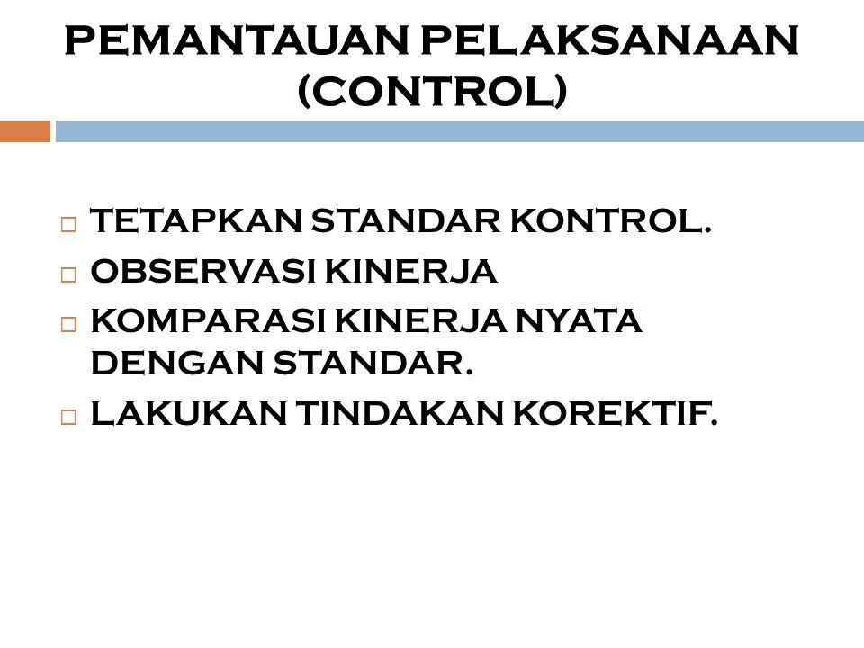 PEMANTAUAN PELAKSANAAN (CONTROL)