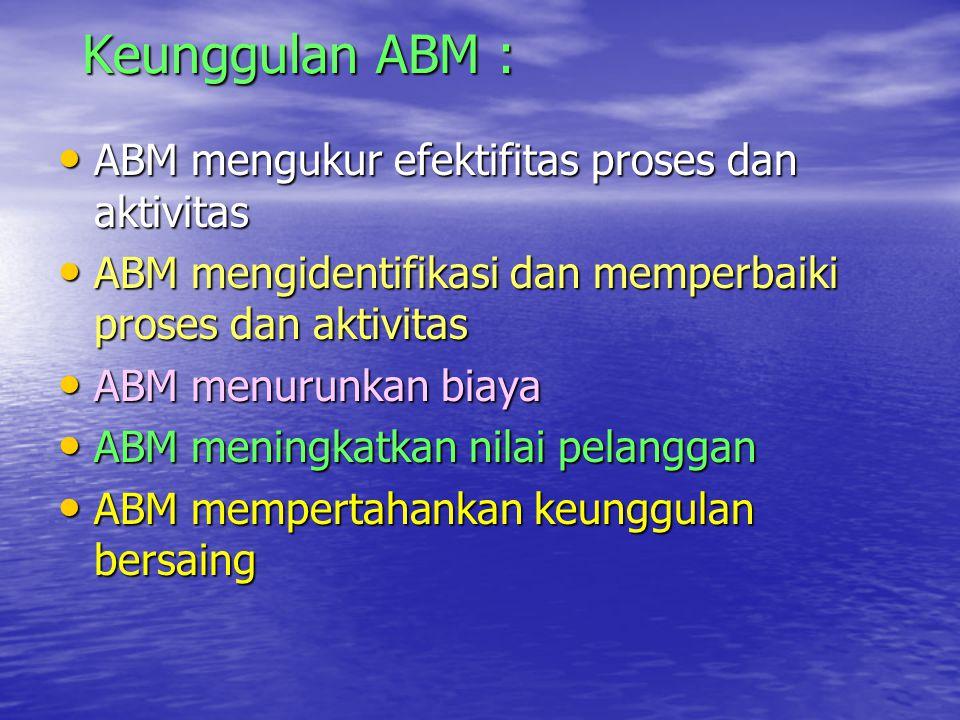 Keunggulan ABM : ABM mengukur efektifitas proses dan aktivitas