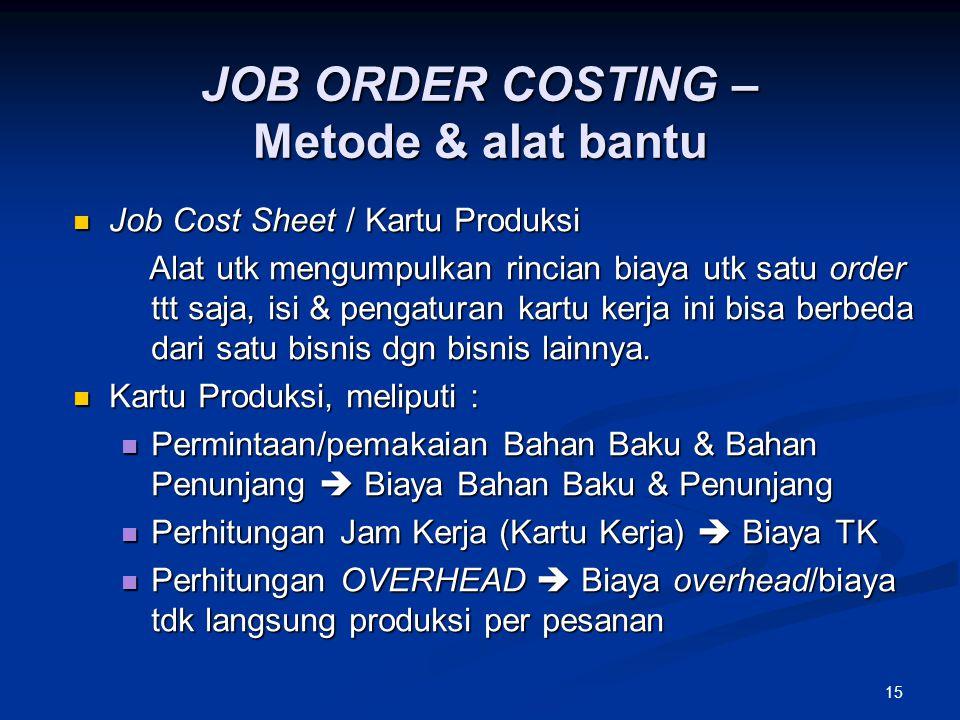 JOB ORDER COSTING – Metode & alat bantu
