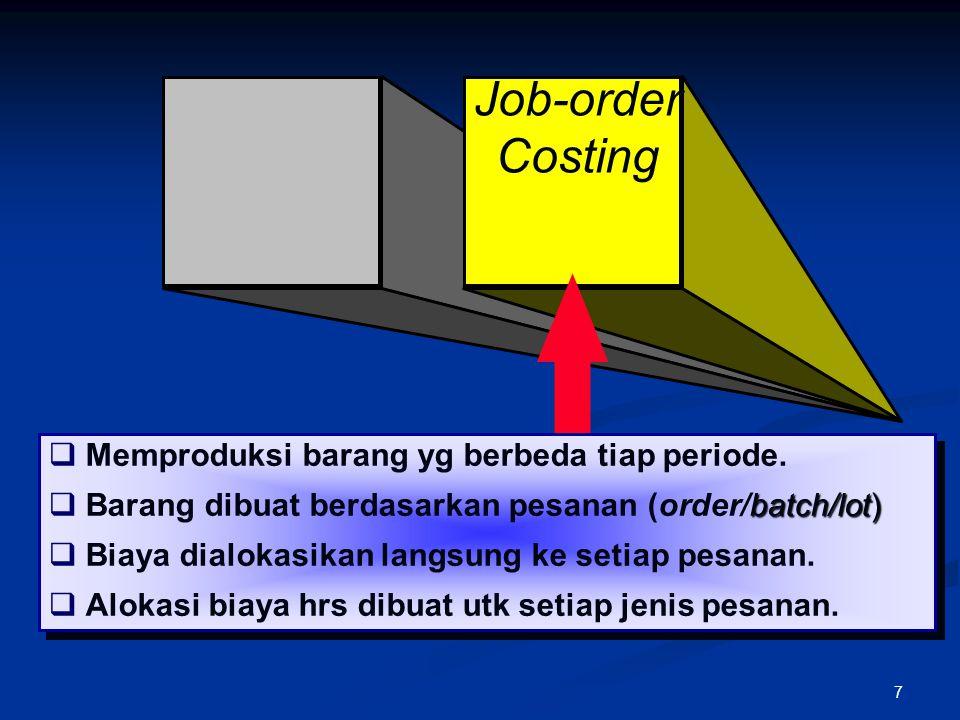Job-order Costing Memproduksi barang yg berbeda tiap periode.